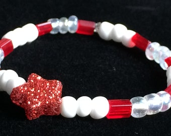 Baby Bracelet 6-12 months, Red, White, Clear Glass Beads with Star