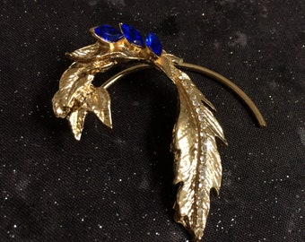 Gold Leaf Shaped Ear Cuffs With Blue Stones, Non-pierced