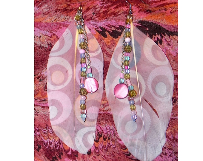 Psychodelic Circles Pierced Feather Earrings with Beads