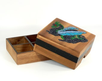 Dragon Jewelry Box, Wooden 4 Compartment for Men, Women, Teens