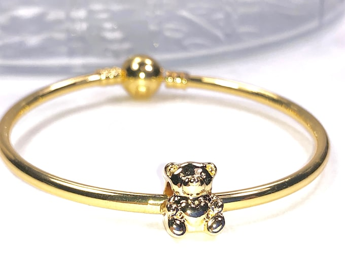 Little Girl's Gold Bangle Bracelet With Bear Charm, Sweet Birthday or Flower Girl Gift