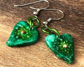 Green Heart Clay Earrings Handpainted