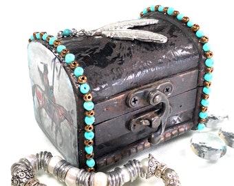 Native American Theme Jewelry Treasure Chest Box