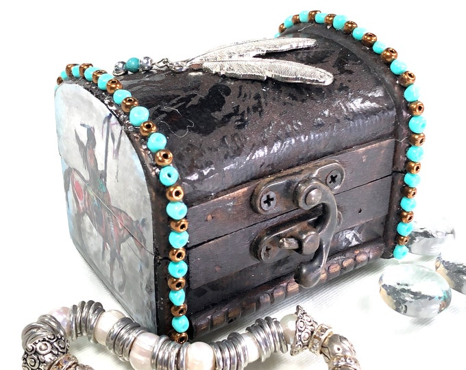 Native American Theme Jewelry Treasure Chest Box