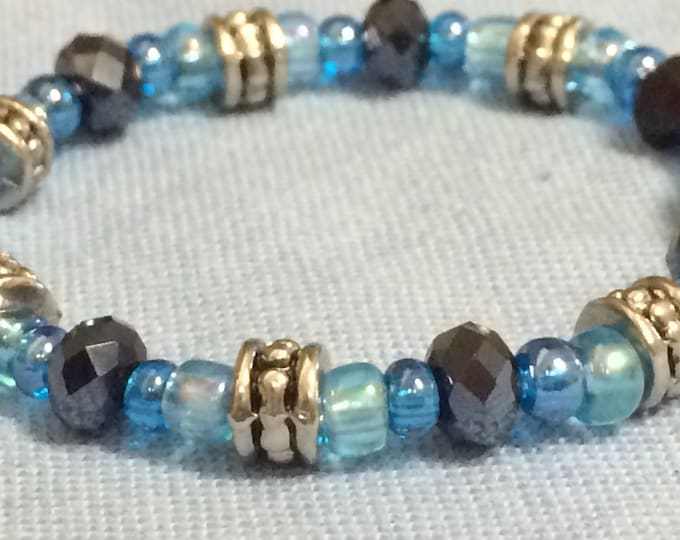 Baby, Child's Beaded Bracelet, Blue and Silver