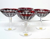 Set of 4 Elegant Mid Century Modern Ruby flashed and cut lead crystal Stemware Echt Bleikristall Christmas New Years Martini Champagne