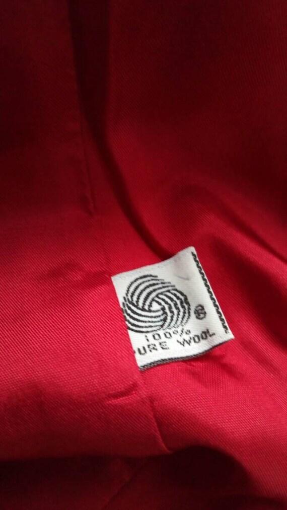 Vintage Rhinestone Red Wool Blazer 1980s or 1990s - image 5