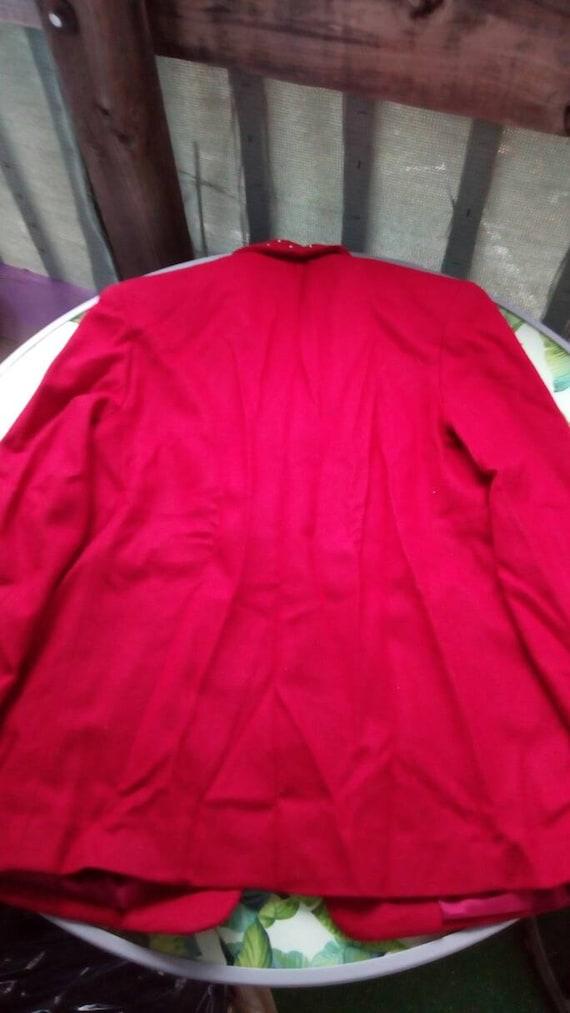 Vintage Rhinestone Red Wool Blazer 1980s or 1990s - image 2