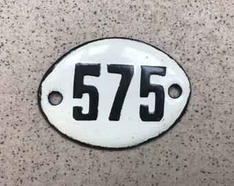 vintage black white small oval address number plates USSR Soviet apartment enamel metal door number sign 538 /& 539