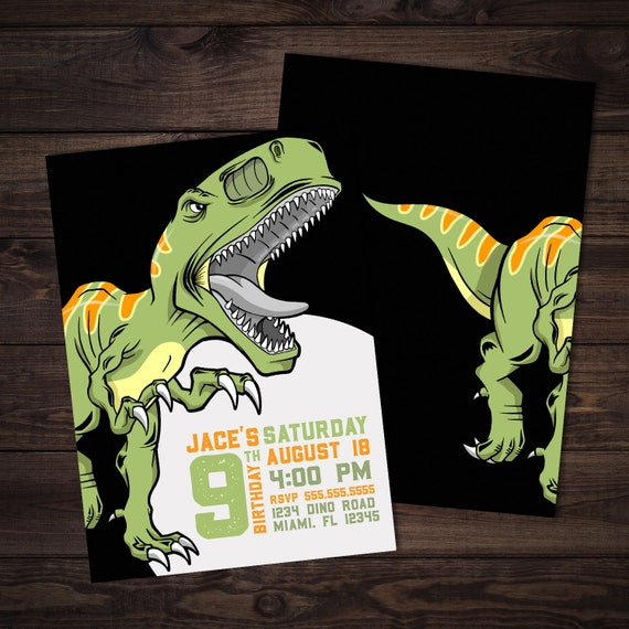 T Rex Dinosaur Birthday Invitation Dino