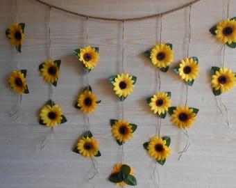 sunflower wedding decor sunflower garland bridal shower decor silk flower garland bridal shower garland flower wall backdrop bunting