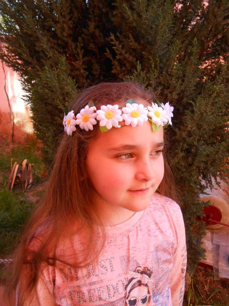 Daisies Flower Hair Garland Bridal flower crown Wedding Hair  0faafd6f814