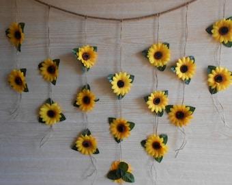 Sunflower wedding etsy sunflower wedding decor sunflower garland bridal shower decor silk flower garland bridal junglespirit Image collections