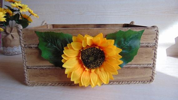 Wooden Crate Wedding Decor Sunflowers Kitchen Etsy