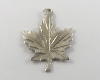 Maple Leaf Sterling Silver Charm or Pendant.