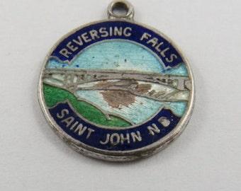 Enameled Reversing Falls Saint John New Brunswick Canada Sterling Silver Charm or Pendant.