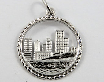 City View of Downtown Edmonton Alberta Canada Sterling Silver Charm or Pendant.