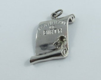 Certificate of Birth Sterling Silver Charm or Pendent.