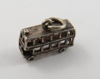 Double Decker Bus Sterling Silver Charm or Pendant.
