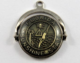 Enameled Mechanical Spinner Florida Sunshine State Sterling Silver Charm or Pendant.