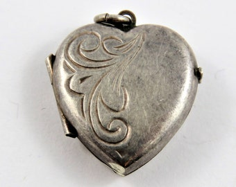 Mechanical Heart Locket that Opens and Holds Two Pictures Sterling Silver Charm of Pendant.