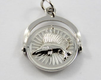 Mechanical Spinner of Barbados on One Side and Sailfish on the Other Sterling Silver Charm or Pendant.