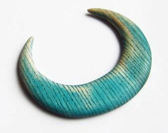 Wooden moon hair, crescent moon, fork, bun holder, hair moon, blue, green, turquoise, africa, haarmond, lune cheveux