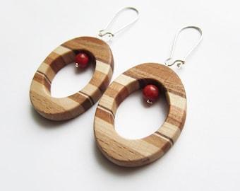 Wooden earrings, natural, earrings, red coral