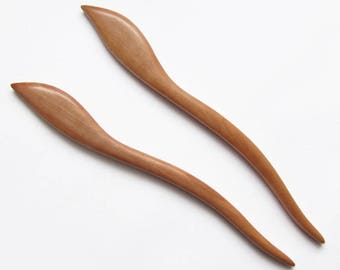 Wooden Hair Sticks Pair, hair stick wood, hairstick, hair stick leaf, hair pin wood, hair stick, hair pin, wood, hairstick pair, haarschmuck