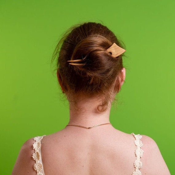 wood hair pin hair stick wood 12 cm haarforke 3 prong 4,7\u2033 hairfork fourche cheveux Wooden Hair Fork