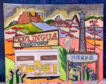 "West Texas Mash Up, Original Watercolor Painting, 8"" x 10"", West Texas, Marfa, Texas, Wall Art, Road Trip, Big Bend, Texas, Terlingua, Prada"