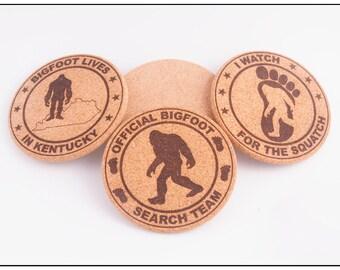 Laser Etched Bigfoot Cork Coasters - Set of 6