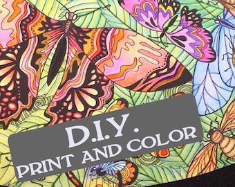 DIGITAL DOWNLOAD - DIY - Colour Your Own Wine Glass Lampshades