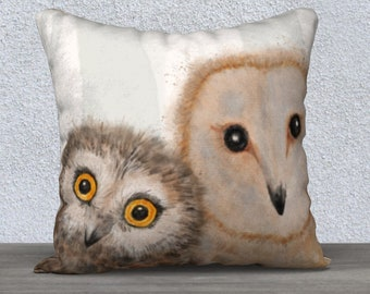 mom and baby owl pillow