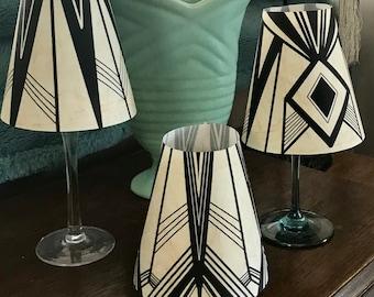 Set of THREE Art Deco Wine shades