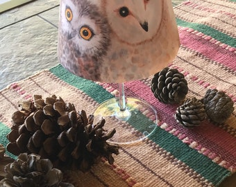 3 Little Owls on a Wine glass lampshade