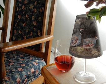 Wine Glass Lampshade Quail Family