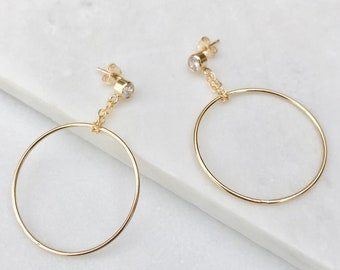 Golden Circle Earrings  |  Modern Circle Drop Earrings  |  14k Gold Fill Jewelry