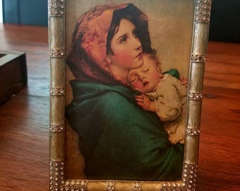 Madonna of the Streets print in vintage frame...light green with rhinestones...marbled look.  Robert Feruzzi