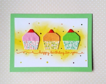 Handmade Origami Cupcakes Birthday Card