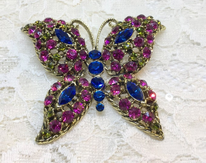 Vintage 1980s Fuchsia Rhinestone Butterfly Brooch Pin