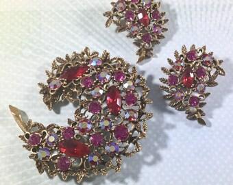 Vintage 1960s Emmons Signed Crescent Floral Brooch Earring Set