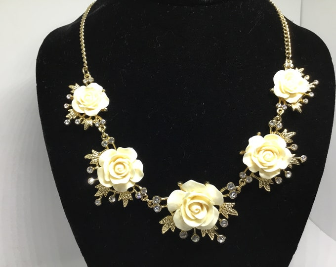 Creamy Resin Rose Rhinestone Necklace, Statement Necklace, Five Graduated Roses, Goldtone Leaves, Crystal Accents, Bridal Necklace