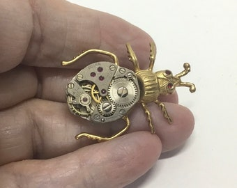 Handmade USA Steampunk Bug Brooch, Mecanical Watch Works Body