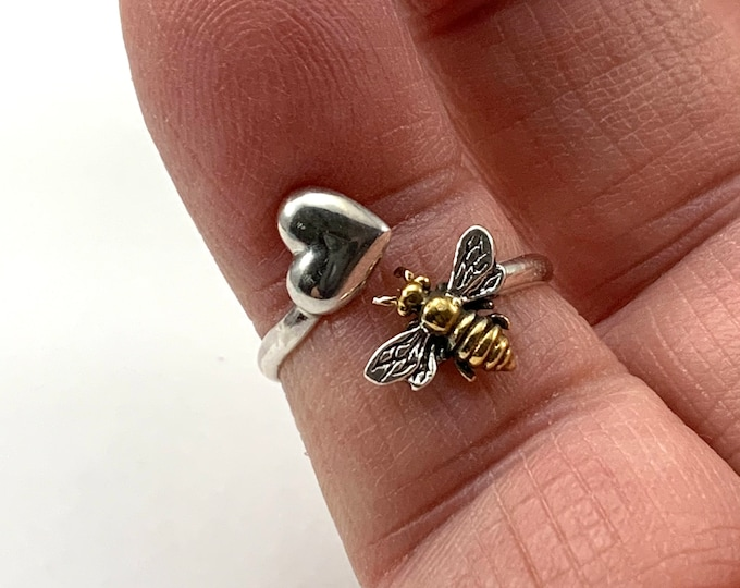 925 Sterling Silver, Honey Bee Heart Ring, Adjustable ByPass, Valentine