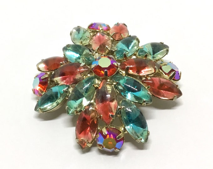 Vintage Watercolor Floral Rhinestone Brooch, Rhinestone Jewelry, Mothers Day Gift