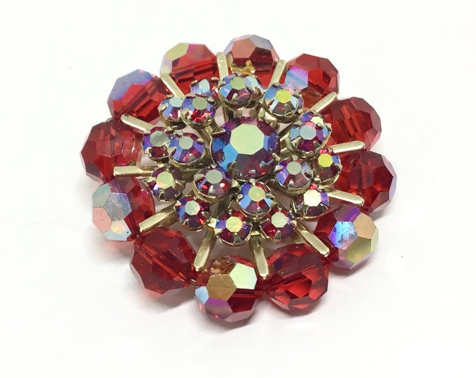 Vintage Red Sparkly Brooch, Faceted Red Beads, Red AB Rhinestones, Red Flower Design, Rhinestone Jewelry