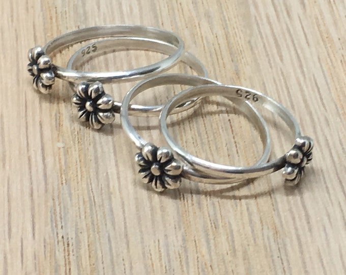 Stacking Ring/ Flower Ring/ Sterling Silver/ Handcrafted/ Bridesmaid/ Honeybee Ring
