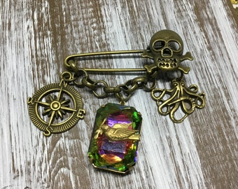 Skull Pin/Chain Dangles/Safety Pin/Kilt Pin/Gothic Steampunk/Bronze Skull/Compass Charm/Octopus Charm/Faceted Crystal Drop/Whimsical