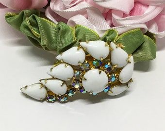 Vintage Milk Glass & Rhinestone Brooch, Midcentury 1950s, Milk Glass Jewelry, Mothers Day Gift